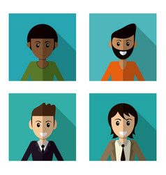 Set character male smile vector