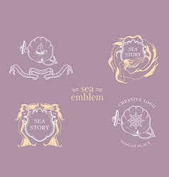 Set creative marine emblem the mermaid round shie vector
