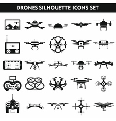 Set icons of drone isolated on white vector image
