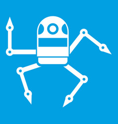 Spider robot icon white vector