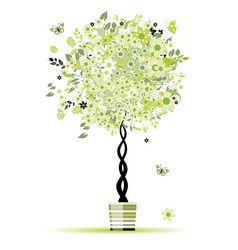 Spring floral tree green in pot for your design vector image vector image