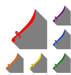 sword sign set of red orange vector image vector image