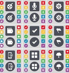 Window Microphone Gear Wallet Tick Flag Smartphone vector image vector image