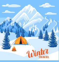 Winter trawel beautiful landscape vector
