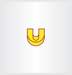 Yellow letter u icon element sign vector