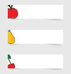 Fruit fresh with white banner set vector