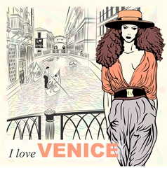 Lovely fashion girl in orange hat in venice vector