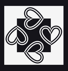 Hearts square shape black and white vector