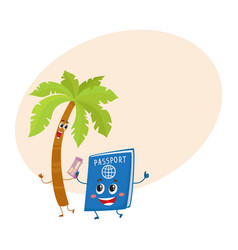 Funny palm tree and passport characters vector