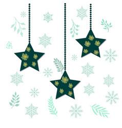 Christmas holiday hanging stars vector