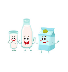 Funny milk characters - bottle glass carton box vector