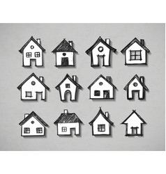 Paper cut sketches of houses with realistic shadow vector