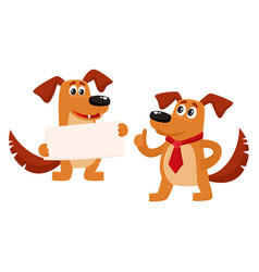 Two funny cute brown dog characters vector