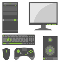 Stylish simple external computer parts vector