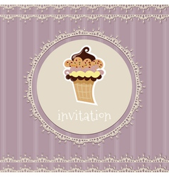 Vintage card-invitation with cupcake vector