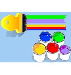 Colored paints in blue background vector
