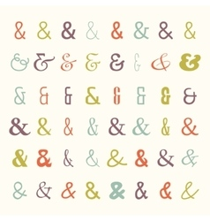 Icon set of colored ampersands vector