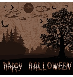 Halloween landscape with inscription vector
