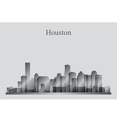 Houston city skyline silhouette in grayscale vector