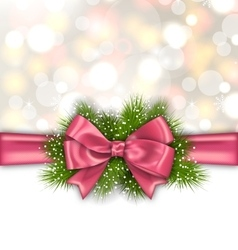 Winter Elegant Background with Pink Bow Ribbon vector image