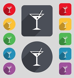 Cocktail martini alcohol drink icon sign a set of vector