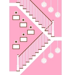 With hallway stairs in flat vector