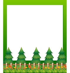 An empty paper template with pine trees and a vector image vector image