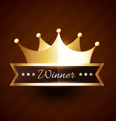 beautiful golden crown design with winner text vector image