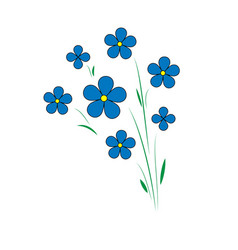 Blue flax flowers five petals with a yellow vector