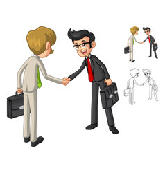 Businessman Hand Shake Poses with Client Cartoon vector image
