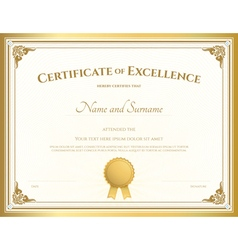 Certificate of excellence template gold theme vector