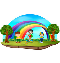 children playing in the park on rainbow day vector image