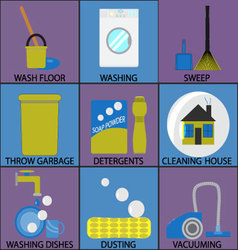Cleaning icon set washing dusting and sweep vector