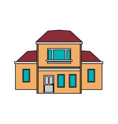 Colorful image cartoon facade two house floors vector