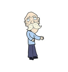 Comic cartoon lonely old man vector
