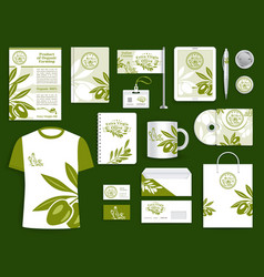 corporate identity olive oil company templates set vector image