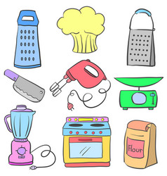Doodle of kitchen set equipment colorful vector