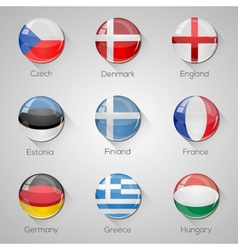European flags set glossy buttons vector