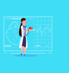 female doctor cardiologist examining heart with vector image vector image