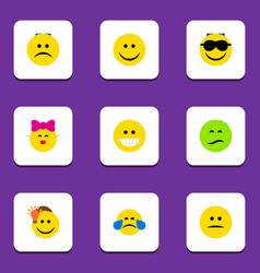 Flat icon emoji set of sad cold sweat frown and vector