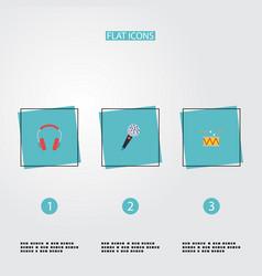 flat icons tambourine karaoke earphone and other vector image vector image