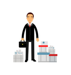 Frustrated businessman character standing among vector