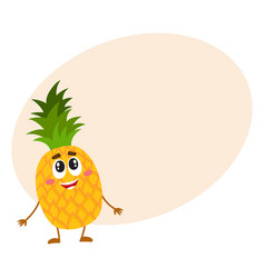 funny pineapple character standing and looking up vector image vector image