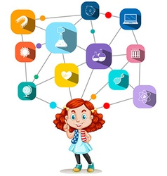 Girl with science icons diagram vector image vector image