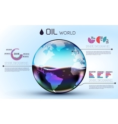 glasses world oil background infographic concept vector image
