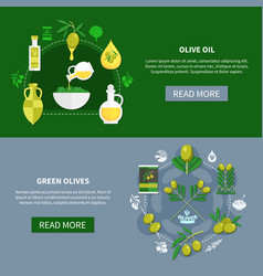 green olives horizontal banners vector image