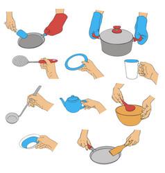 Hands with kitchen utensils vector