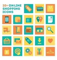 Icon set of electronic commerce and shopping vector image vector image