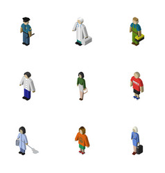 Isometric human set of housemaid lady officer vector