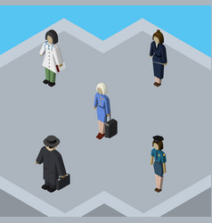 Isometric person set of detective hostess doctor vector